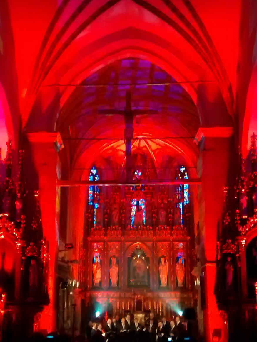 Efekty świetlne w czasie Bilijnej Drogi Krzyżowej z koncertem pieśni pasyjnych (09)