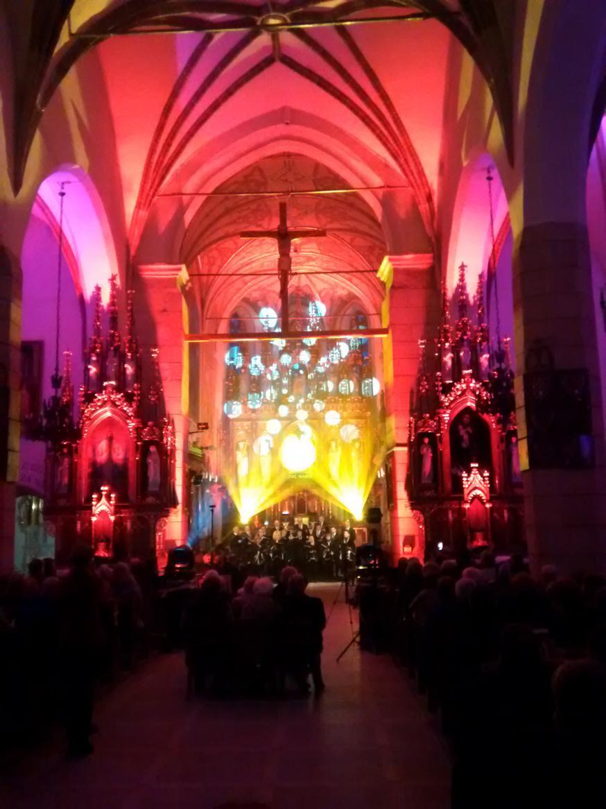 Efekty świetlne w czasie Bilijnej Drogi Krzyżowej z koncertem pieśni pasyjnych (22)