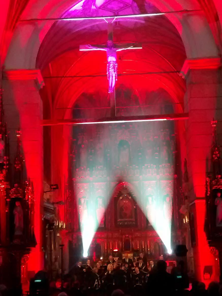 Efekty świetlne w czasie Bilijnej Drogi Krzyżowej z koncertem pieśni pasyjnych (25)