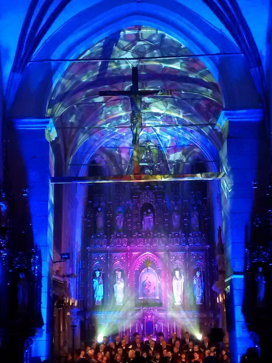 Efekty świetlne w czasie Bilijnej Drogi Krzyżowej z koncertem pieśni pasyjnych (30)